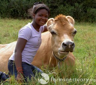 Farm Sanctuary_visitor with Dolly